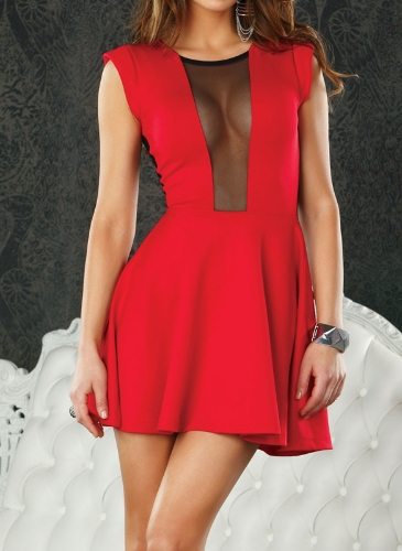 Sexy Women Mini Dress Sleeveless Mesh A-Line One-piece Clubwear Cocktail Party Dress Red