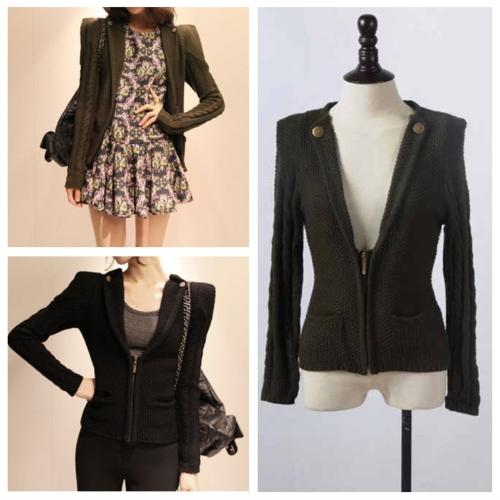 Korean Fashion Women Jacket Coat Pocket V-neck Long Sleeve Shrug Knitwear Cardigan Dark Green