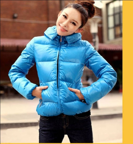 Buy Winter Women Parka Faux Fur Collar Zip Candy Color Thick Outerwear Coat Blue