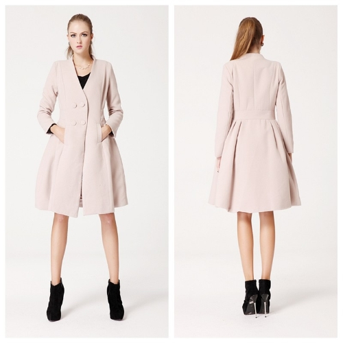 Buy Autumn Winter Women Trench Coat V Neck Double Breasted Long Sleeve Overcoat Outerwear Beige