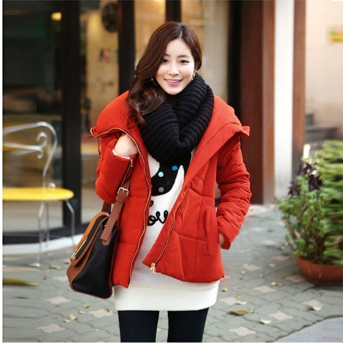 Buy Fashion Women Winter Coat Large Lapel Outerwear Zipper Parka Jacket Reddish Orange