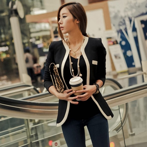 Buy Fashion New Women Suit Blazer Color Block Slim Coat Pocket Jacket Outerwear Black