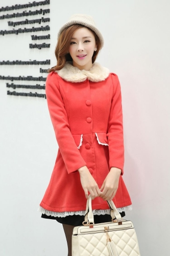 Buy Winter Women Thick Overcoat Fur Collar Puff Long Sleeve Single Breasted Midi Outerwear Coat Red