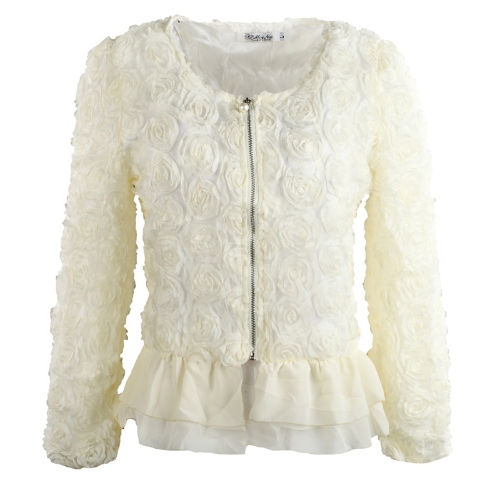 Buy Fashion Women Thin Coat 3D Rose Flower Mesh Lace Bead Chiffon Hem Ruffles Slim Zipper Tops Beige