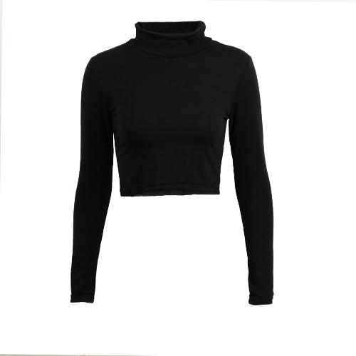 Buy Stylish Casual Women T-shirt Polo Neck Long Sleeve Crop Top Blouse Tee T Shirt Black