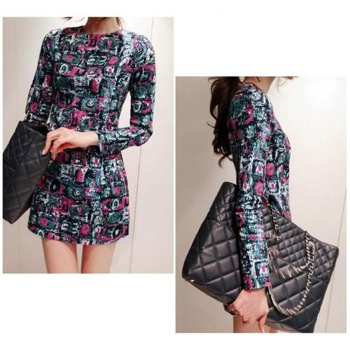 Buy Fashion Women Mini Dress Colorful Print Painting Geometric Pattern Zipper Back Long Sleeve Slim