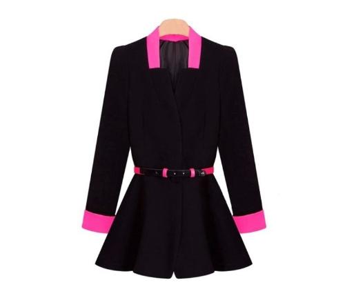 Buy Korean OL Women Pleated Blazer Deep V-Neck Slim Jacket Button Coat Black