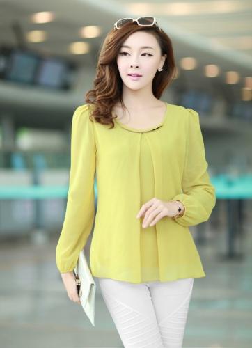 New Fashion Women Chiffon Blouse Long Sleeve Round Neck Pleated Shirt Loose Tops Yellow