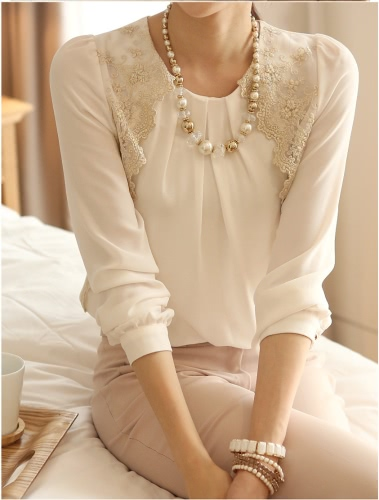 New Women Vintage Chiffon Blouse Long Sleeve Lace Tops Basic Shirt White