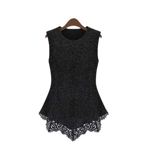 Buy Women Floral Lace Blouse Sleeveless Crochet Peplum Tank Tops Slim Shirt Black