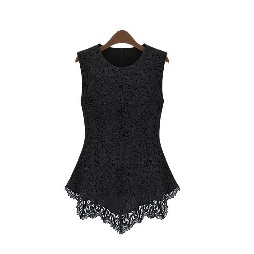 New Women Floral Lace Blouse Sleeveless Crochet Peplum Tank Tops Slim Shirt Black