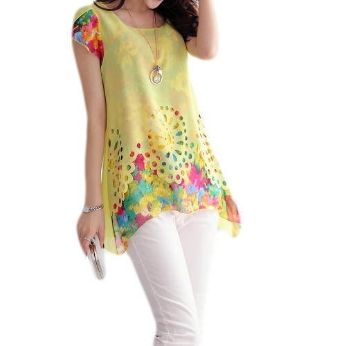 New Fashion Women Chiffon Blouse Floral Print Hollow Out Overlay Petal Sleeves Tops Yellow