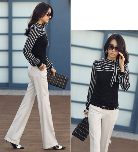 Buy Korean Fashion Women Lady Slim T-Shirt Puff Long Sleeve Polo Neck Stripe Tops Black