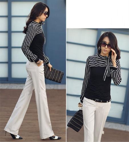 Buy Korean Fashion Women Lady Slim T-Shirt Puff Long Sleeve Polo Neck Stripe Tops Black