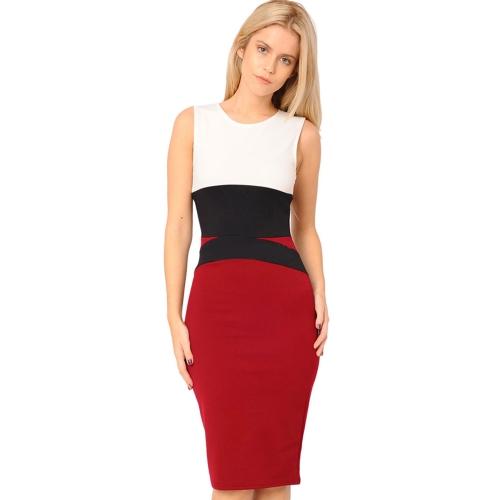 Buy Fashion Women Dress Color Block Bodycon Sleeveless Elegant Midi One-piece Red