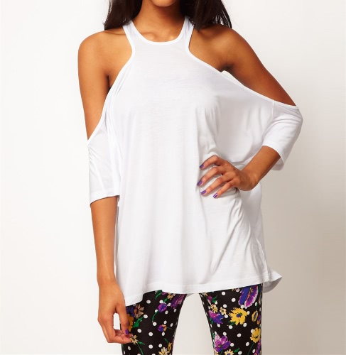 Buy Sexy Women T-shirt Shoulder Batwing Sleeve Open Back Loose Tee Tops White