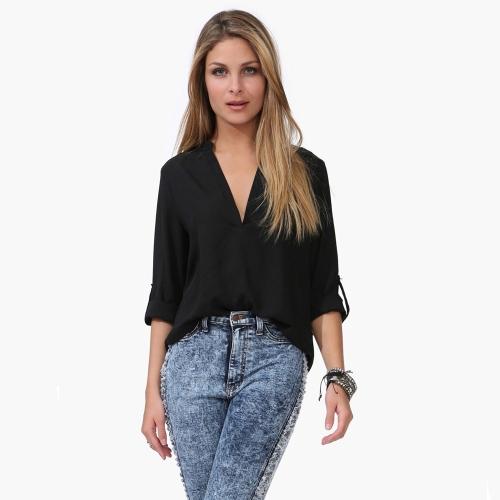 Buy Fashion Women Chiffon Blouse Sexy V-Neck Stand Collar Long Sleeve Shirt Tops Black