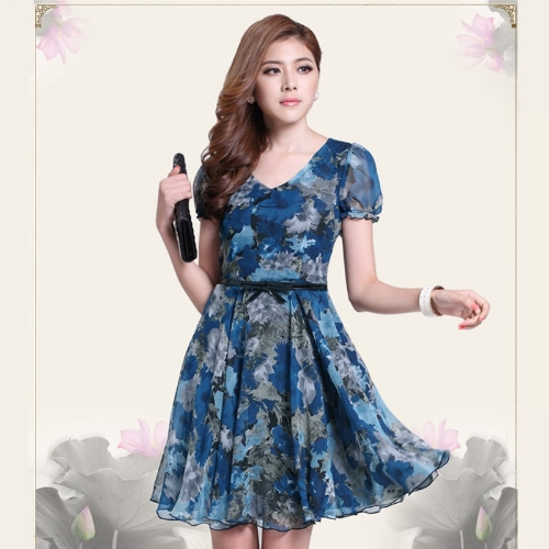 Buy Vintage Women Chiffon Dress Floral Print V Neck Short Sleeve Blue