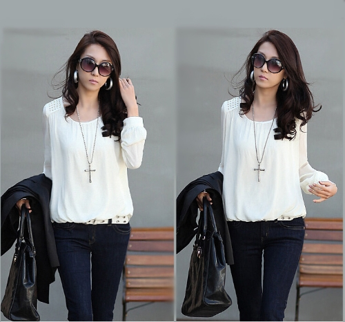 Buy Fashion Women Chiffon Blouse Puff Long Sleeve Pullover Shirt Tops White