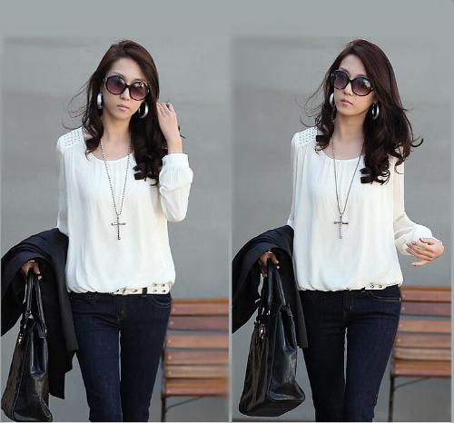 Buy Fashion Women Chiffon Blouse Puff Long Sleeve Pullover Shirt Tops White