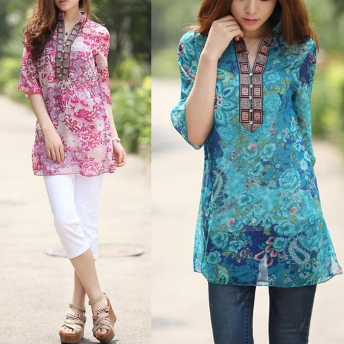 New Fashion Women Chiffon Blouse Embroidery Print Stand Collar Half Sleeve Long Shirt Dress Red