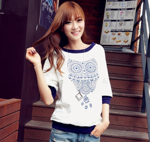 New Fashion Women T-shirt Owl Print Color Block Batwing Half Sleeves Tops White