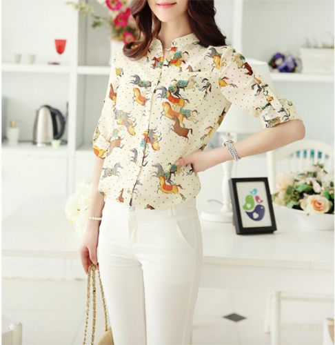 New Vintage Women Chiffon Shirt Print Stand Collar Long Sleeve Blouse with Camisole Yellow