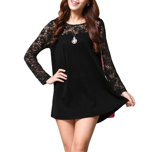 Buy Fashion Women Loose Blouse Lace Splice Crew Neck Long Sleeve Tee Tops Shirt Black