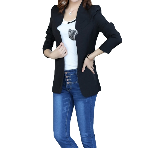 Buy Fashion Women Blazer Open Front Notched Collar Long Sleeve Slim Small Suit Jacket Outerwear Black
