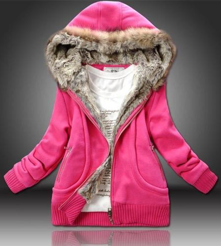 Buy Fashion Women Thick Hoodies Parka Faux Fur Zipper Pockets Warm Jacket Outerwear Rose
