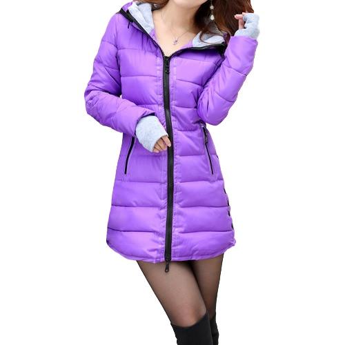Buy Autumn Winter Women Padded Parka Hooded Coat Zipper Pockets Long Slim Jacket Warm Outerwear Purple