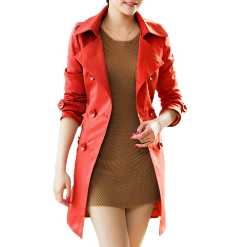 Buy Fashion Women Long Coat Double Breasted Belted Waist Turn-Down Collar Trench Outerwear Red