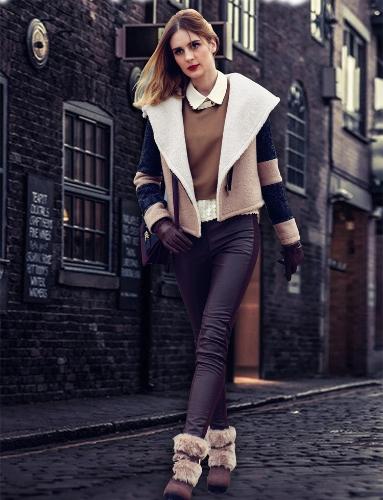 Buy Fashion Women Coat Turn-down Collar Big Lapel Outerwear Short Belted Jacket Thick Warm Overcoat Beige