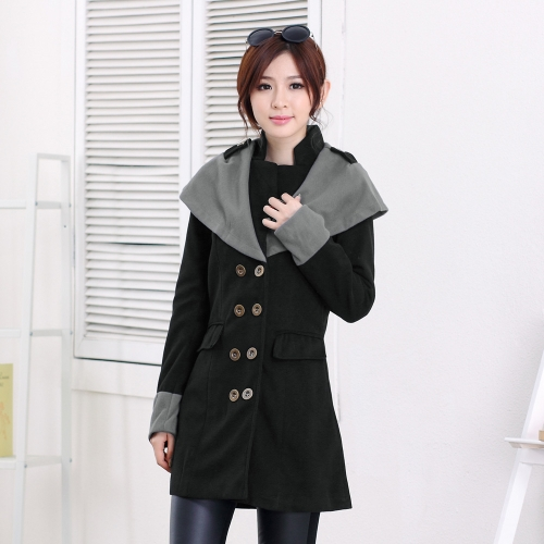 Buy Autumn Winter Fashion Women Coat Contrast Big Lapel Double Breasted Epaulette Outerwear Black