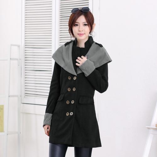 Buy Autumn Winter Fashion Women Coat Contrast Big Lapel Double Breasted Epaulette Outerwear Black