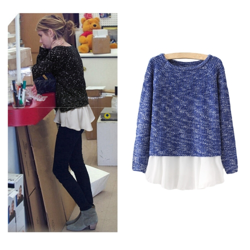 New Fashion Women Knitwear Patchwork Chiffon Hem Long Sleeve Casual Pullover Sweater Jumper