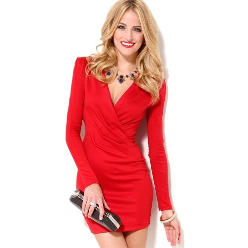 Buy Sexy Women Bodycon Dress Deep V-Neck Long Sleeve One-piece Mini Red/Black/Rose/White/Blue