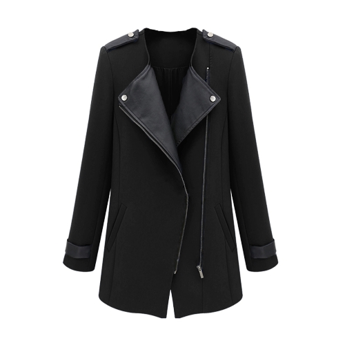 New Fashion Women Coat PU Leather Patchwork Zipper Front Warm Jacket Trench Outwear Black