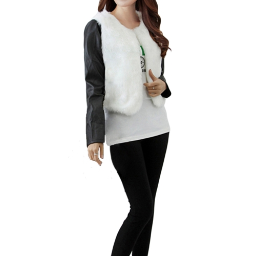 Buy Fashion Women Autumn Winter Jacket Coat Faux Fur PU Sleeves Open Front Short Outerwear