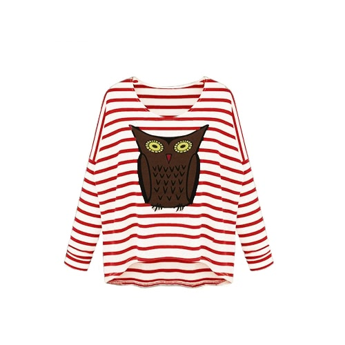 New Fashion Women T-Shirt Owl Pattern Stripe Crew Neck Batwing Long Sleeve Casual Top Blouse