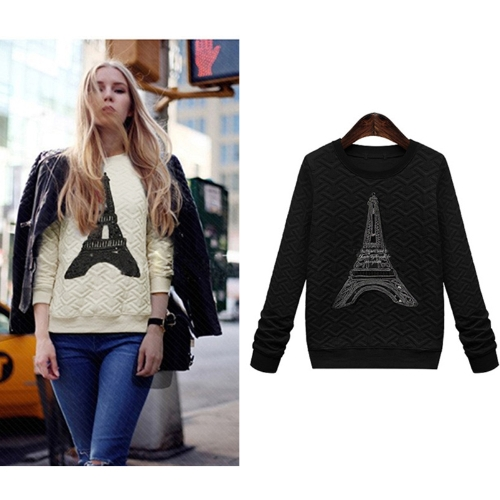 Fashion Women Sweatshirt Pylon Decoration Pullover Long Sleeve Casual Tops Blouse