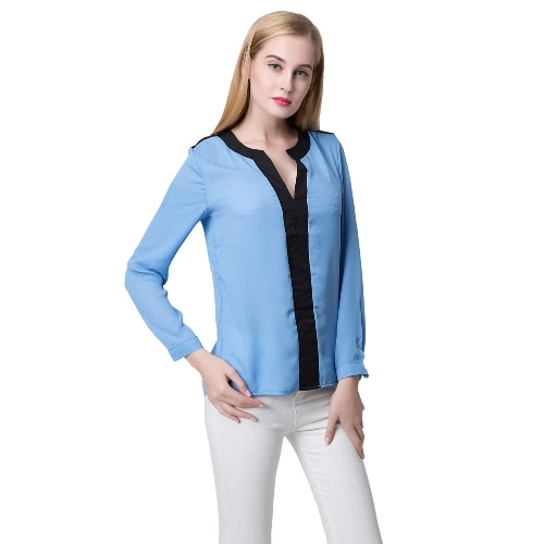 Fashion Contrast V Neck Long Sleeve Chiffon Blouse for Women от Tomtop.com INT