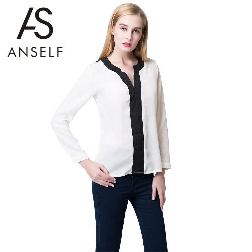 Buy Fashion Contrast V Neck Long Sleeve Chiffon Blouse Women