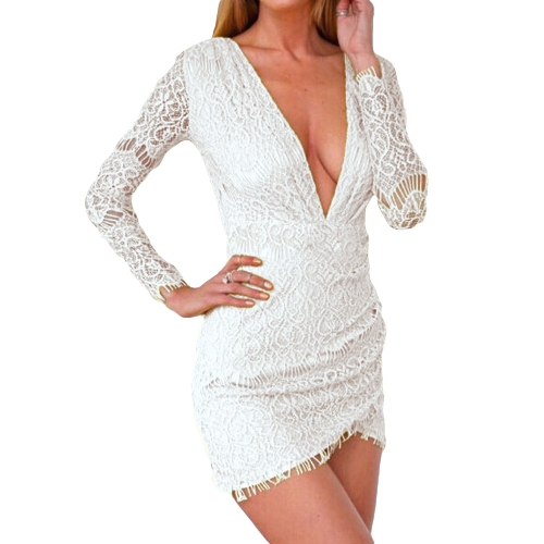Buy Hot Sexy Women Lace Dress Deep V-Neck Long Sleeve Clubwear Tunic Bodycon Mini
