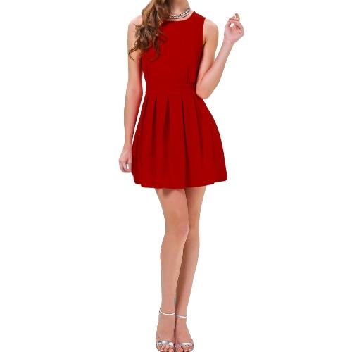 Buy Fashion Sexy Women Vest Dress Cut Open Scallop Back Pleated Clubwear Party Mini