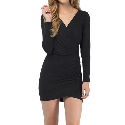 Buy Fashion Women Wrap Front Dress Sexy Deep V-neck Long Sleeve Evening Party Clubwear Mini