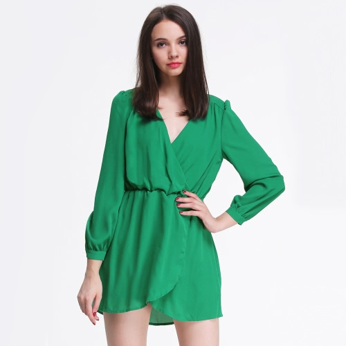 Buy Sexy Women Chiffon Dress V Neck Wrap Front Irregular Hem Long Sleeve Party Cocktail