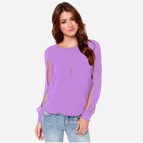 Buy Fashion Women Blouse Chiffon Hollow Solid Crew Neck Long Sleeve Loose Sexy Tops