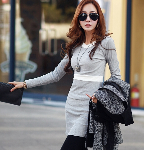 Buy Autumn Winter Women Dress Contrast Color Crew Neck Long Sleeve Warm Thick Bottoming Black/Grey