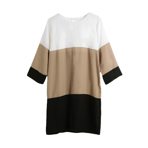 Buy Fashion Women Chiffon Dress Color Block 1/2 Sleeve Plus Size Loose Shift Mini